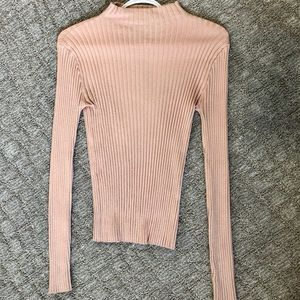 High-Neck Ribbed Blush Pink Sweater